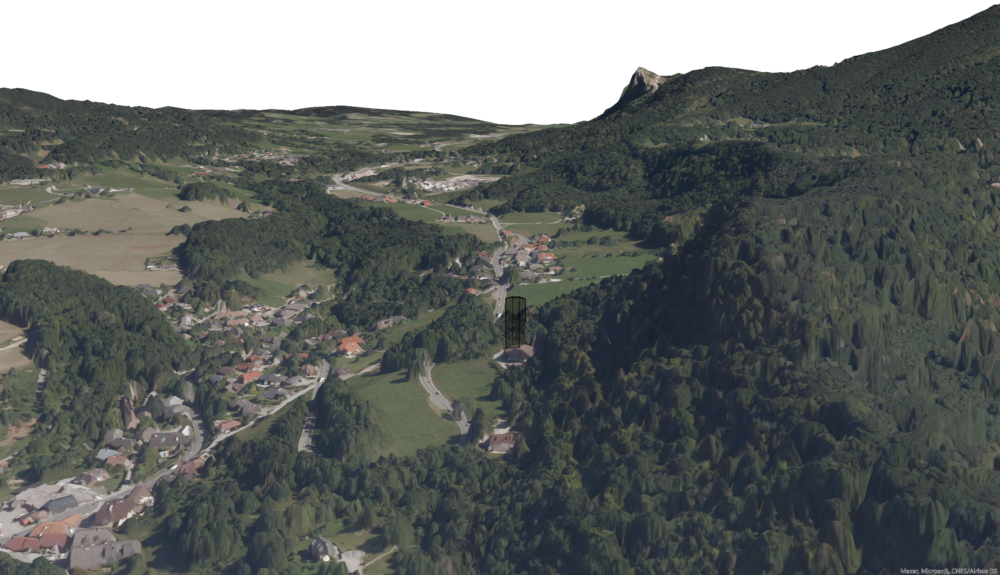 Image 2: Looking towards the East from Salzburg, into the valley separating the Nockstein and Gaisberg (on the right) from the Heuberg (on the left). The proposed Hotel of 50m height is simulated with a polygon.