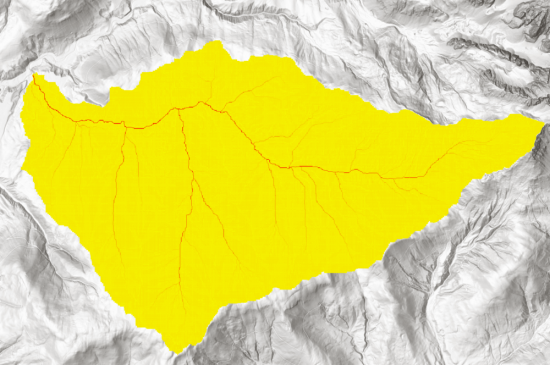 Image 8: Flow accumulation visualization. Yellow areas show that ony a handfull of cells drain into those cells, while red show high numbers up until the amount of 429.220 at  the pour point. Since the red lines show accummulations of runoff, they can already be considered as representations of streams in the catchment area.