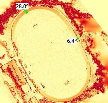 Slope visualization & mean slope along sampling lines.