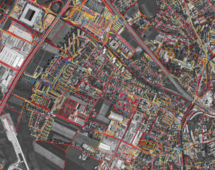 Image 2: Color-coded visualization of the categorization of the road features by length.