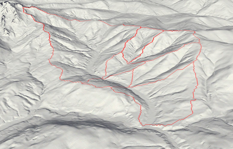 Image 2: 3D Hillshide visualization of the catchment area. The red zones deliniate the multiple catchment areas that eventually drain into the Neubach.
