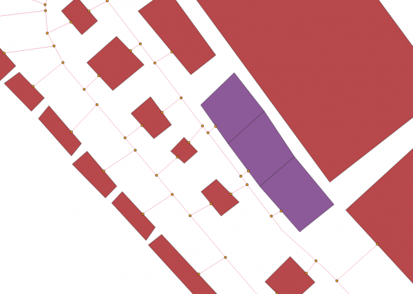 Image 10: Nodes (points,orange) next to the booth polygons.