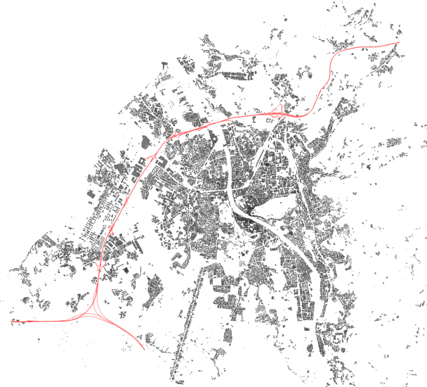 Image 3: Roads classified as Motoways and Motorway Links extracted from the roads dataset in red, surrounded by the buildings layer.