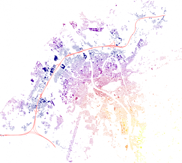 Image 5: Distance from buildings to Motorways visualized.