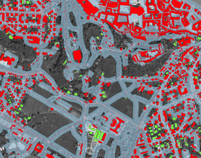 Image 8: Visualized result of that query. The query results in a layer of buildings that do not intesect the buffer and are therefore out of the zone, shown here in green. In red, buildings that are within the zone are visualized.