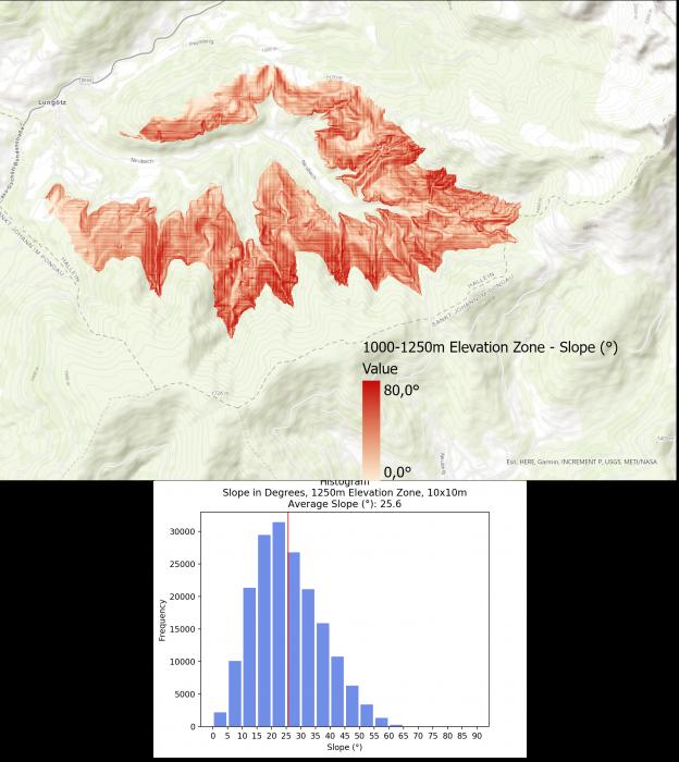 Image 7: Slope Visualization and Histogram for 1000-1250m Elevation Zone.