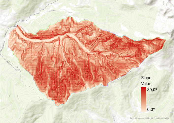 Image 3: Slope visualization of catchment area.