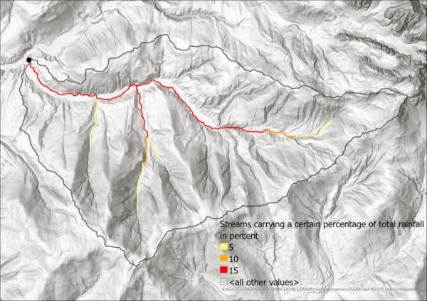 Image 11: Streams carrying at least 5%, 10% and 15% odf the total rainfall of the catchment area, which is shown as the grey line.