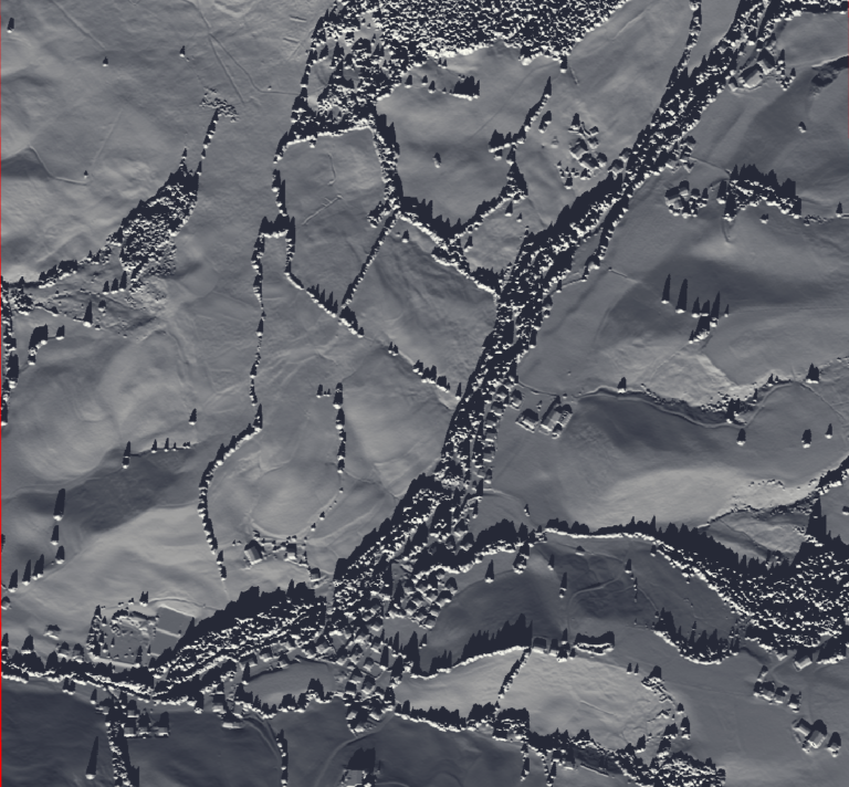 Image 5: Hillshade visualization for the sun's azimuth and angle on the 21st of December (winter solistice).