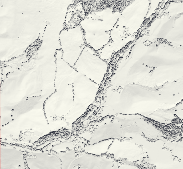 Image 3: Hillshade visualization for the sun's azimuth and angle on the 21st of June (summer solistice).