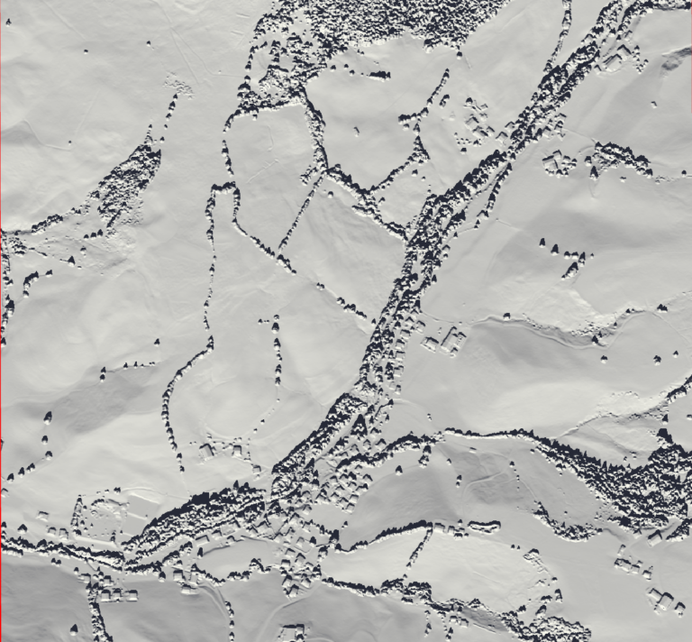 Image 2: Hillshade visualization for the sun's azimuth and angle on the 21st of March (spring equinox).