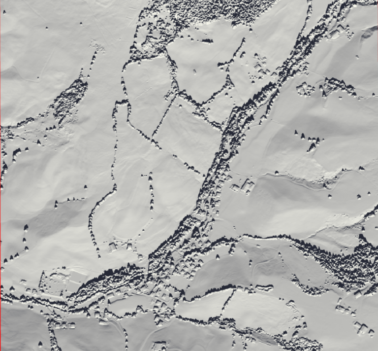 Image 4: Hillshade visualization for the sun's azimuth and angle on the 23st of September (fall equinox).