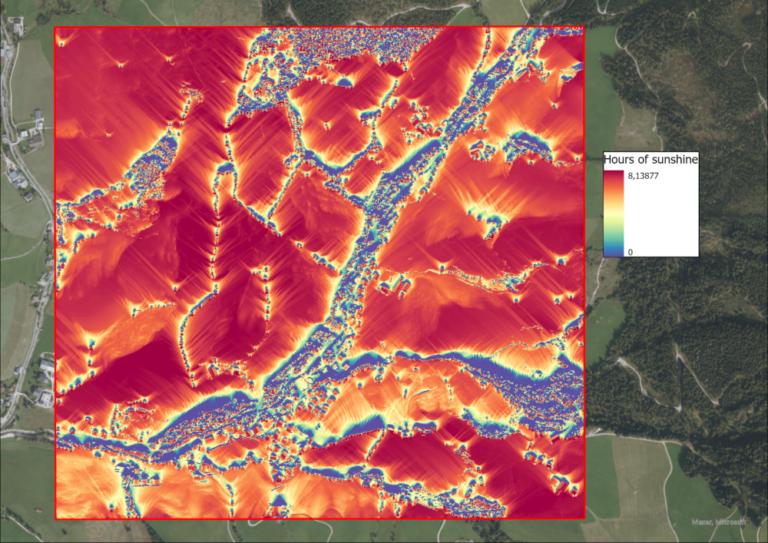Image 9: Sunshine hours per pixel on the 21st of December.