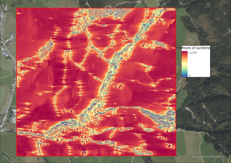 Image 8: Sunshine hours per pixel on the 23rd of September.