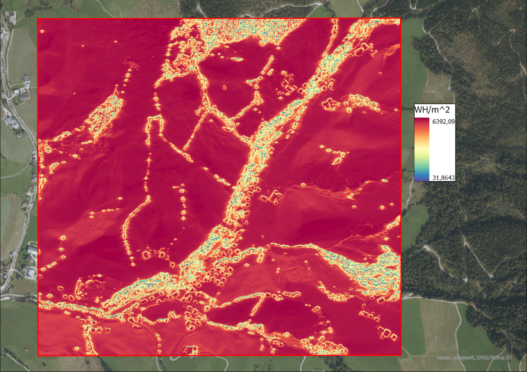 Image 11: Solar radiation intensity in WH/m^2 per pixel on the 21st of June.